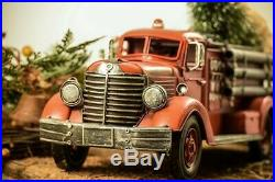 Sturdy 18 Metal Vintage 1940s Style Model FIRE TRUCK with Christmas Tree