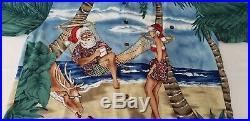 TORI RICHARDS Christmas Hawaiian Shirt Palm Tree Santa Mens XL Vintage Aloha