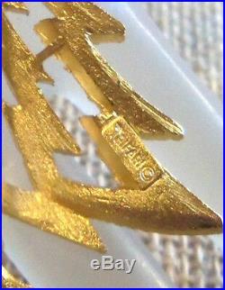 Trifari Rare Vintage Goldplated Openworks Christmas Tree Brooch Estate Jewelry