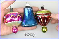 Twelve VTG Mercury Glass Christmas Tree Ornaments Bells Indented Teardrops Misc