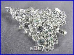 Unsigned Swarovski White Crystal Rhinestone Vintage Book Pin Christmas Tree