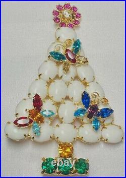 Unusual Vintage Large Rhinestones Milk-glass Butterfly Christmas Tree Brooch