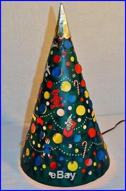 Unusual Vintage Lighted Christmas Tree L A Goodman Cone Plastic Light Toys