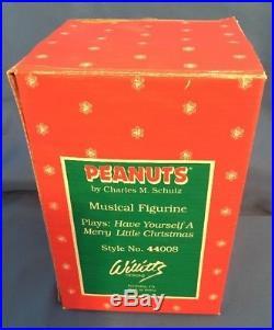 VERY RARE! Peanuts Snoopy Christmas Tree Music Box Willitts Vintage BOX