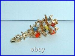 VINTAGE 14k YELLOW GOLD 3D MOVEABLE CHRISTMAS TREE PENDANT CHARM with ornaments