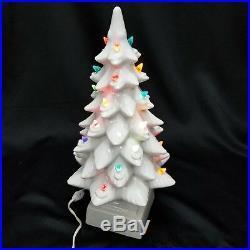 VINTAGE 17 Lighted White Flocked Ceramic Christmas Tree Base RAYMOND LAMP AS IS
