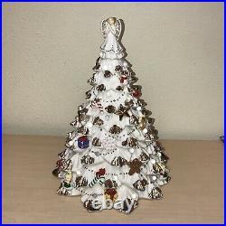 VINTAGE 18 Lighted White Flocked Ceramic Christmas Tree Gold Angel No Base