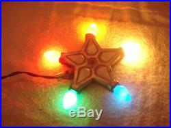 VINTAGE 1930s-40s ROYAL STAR LIGHTED CHRISTMAS TREE TOPPER METAL