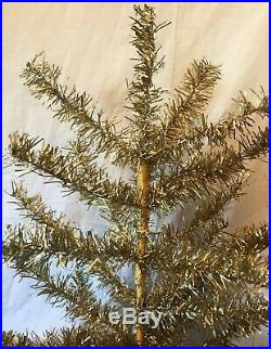 VINTAGE 1940-1950s 6' GOLD ALUMINUM MR CHRISTMAS TREE With BASE ORIG BOXRARE