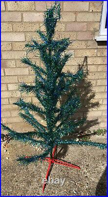 VINTAGE 1960's SKINNY TINSEL WIRE FRAMED CHRISTMAS TREE Green Blue