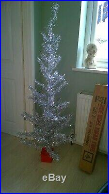 VINTAGE 1960s 5 FOOT SILVER TINSEL ARTIFICIAL CHRISTMAS TREE
