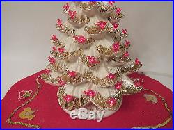 VINTAGE 1960s 70 ATLANTIC MOLD GOLD FLOCKED RED DOVE CERAMIC CHRISTMAS TREE