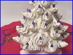 VINTAGE 1960s 70s ATLANTIC MOLD MID CENTURY CERAMIC LIGHT UP CHRISTMAS TREE