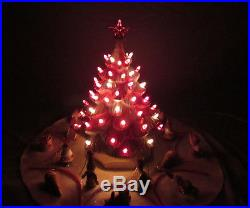 VINTAGE 1960s CERAMIC LIGHT UP CHRISTMAS TREE 16 TALL SKIRT COVER RED PINK