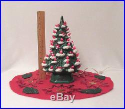 VINTAGE 1960s MID CENTURY CERAMIC LIGHT UP CHRISTMAS TREE 11 1/2 SKIRT & COVER