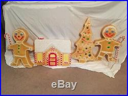 VINTAGE 1996 Christmas Blow Mold Gingerbread pair, Tree and House-Union Products