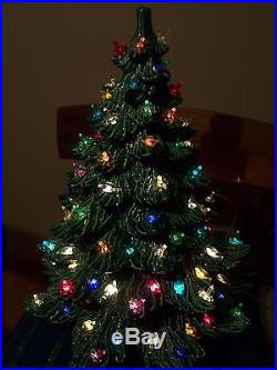 Vintage 3 Tier Piece Ceramic Christmas Tree Lit Bird Candle Lights