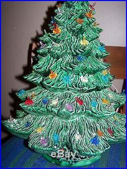 Vintage 3 Tier Piece Ceramic Christmas Tree Lit Bird