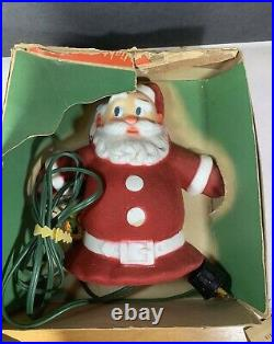 VINTAGE 40'S or 50'S SANTA-GLO CLAUS TREE TOP WALL PLAQUE LIGHT CHRISTMAS