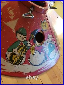 VINTAGE 50's CHRISTMAS tin TREE STAND rare find