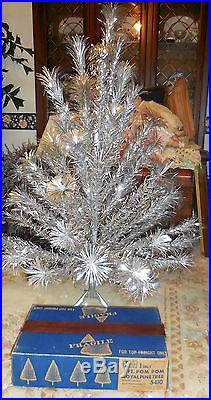 VINTAGE 58 POM POM BRANCHES 4 Ft Aluminum Christmas Tree Complete