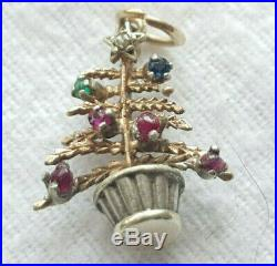 VINTAGE 9ct YELLOW GOLD GEMSTONE SET CHRISTMAS TREE CHARM 2 grams