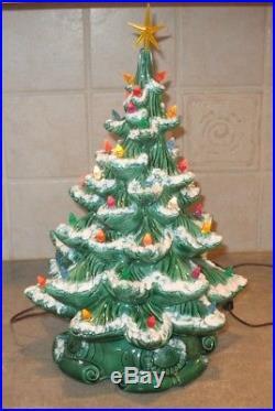 VINTAGE ATLANTIC MOLD CERAMIC CHRISTMAS TREE 16 Snow Flocked