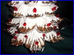 VINTAGE ATLANTIC MOLD White & Gold Flocked, red bulbs CERAMIC CHRISTMAS TREE