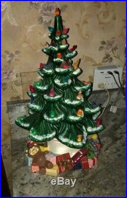 VINTAGE Atlantic Mold Ceramic 17 Christmas Tree, RARE TOY PRESENTS BASE Frosted