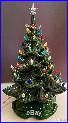 VINTAGE Atlantic Style Ceramic Christmas Tree Large ceramic tree lights star