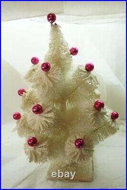VINTAGE BOTTLE BRUSH CHRISTMAS TREE CONSOLIDATED NOVELTY WHITE PINK BALLS 20in