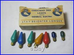 VINTAGE C6 CHRISTMAS TREE LIGHT BULBS LAMPS With MAZDA BOX