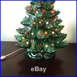 CERAMIC CHRISTMAS TREE GREEN With MULTI COLORED BULBS 2 PC. HUGE ...