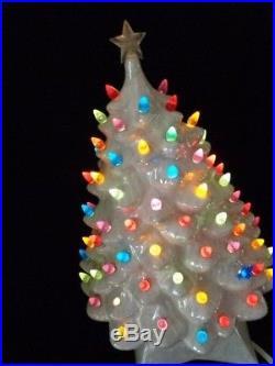 VINTAGE CERAMIC CHRISTMAS TREE WHITE PEARL Large 17 ATLANTIC MOLD