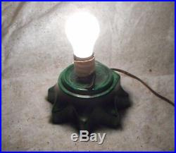 VINTAGE CERAMIC GREEN LIGHT UP 100% COLOR PEG ORNAMENTS CHRISTMAS TREE With BASE