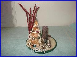 Vintage Christmas Flocked Bottle Brush Tree Glass, Manger, Beads Ornaments