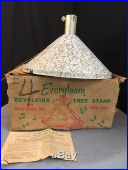 VINTAGE EVERGLEAM ALUMINUM CHRISTMAS Musical Revolving TREE STAND MID CENTURY