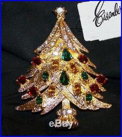 VINTAGE Eisenberg Ice Christmas Tree Pin Brooch-High End-Rhinestones-Signed