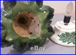 VINTAGE Green 16 Ceramic Christmas Tree Multi-colored withBirds NOWELL MOLD 1984