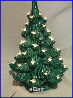 VINTAGE Green 16 Ceramic Christmas Tree with White Birds NOWELL's MOLD 1978
