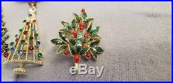 VINTAGE Holiday Christmas Tree PIN lot of 12 Brooches Enamel Rhinestones