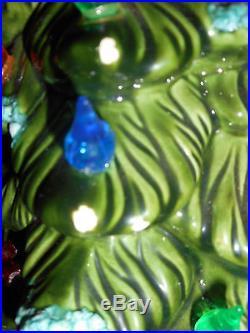 Vintage Large Lighted Ceramic Holland Mold Flocked Snow Christmas Tree 17