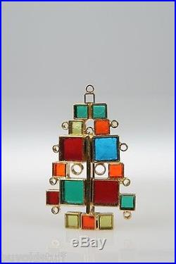 VINTAGE Laguna Modernist Christmas Tree Pin Stained Glass Look 1960 Mid Century