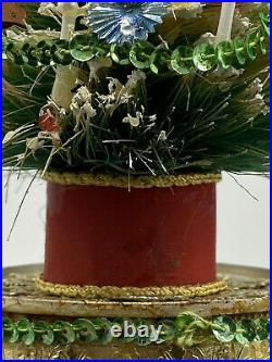 VINTAGE MCM Bottle Brush Christmas Tree with Bright Decorantions 10 1/2 inch