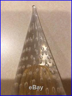 VINTAGE MURANO Art Italy Glass Cone Christmas Tree 8 1/2 bubbles gold dust RARE