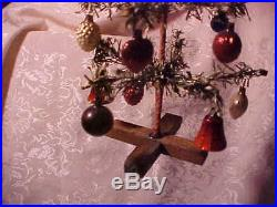 Vintage Old Antique Christmas Germany Feather Tree Mercury Glass Ornament Candle