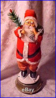 Vintage Old Antique Christmas Large Santa Claus Musical Feather Tree Belsnickle