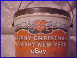 Vintage Old Antique Merry Christmas Rare Peanut Butter Tin Pail Yule Tide Tree