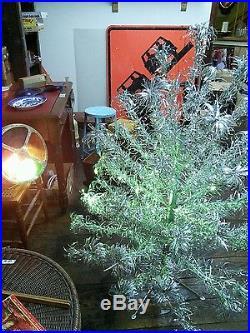 vintage pom pom silver aluminum christmas tree rotating color wheel complete - Rotating Color Wheel For Christmas Tree
