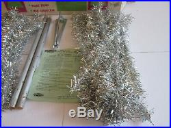 VINTAGE SILVER 4' VINYL CHRISTMAS TREE 66 Branch withStand-Box-INSTRUCTIONS